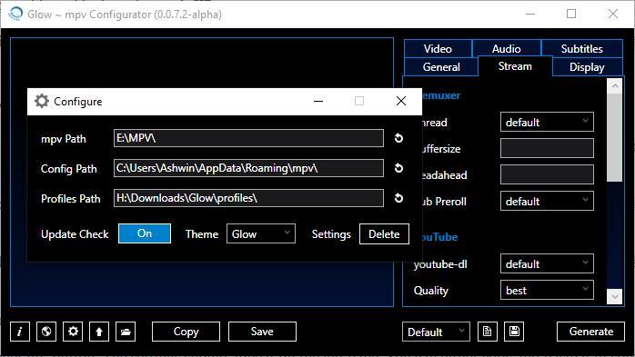 Glow settings generator for mpv