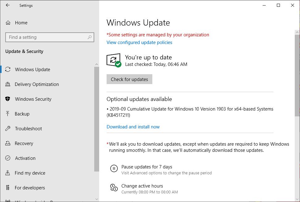 KB4517211 windows 10 1903 september 2019