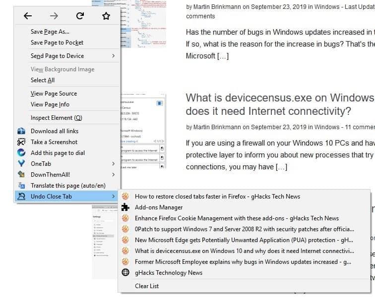 Undo Close Tab Firefox extension page context menu