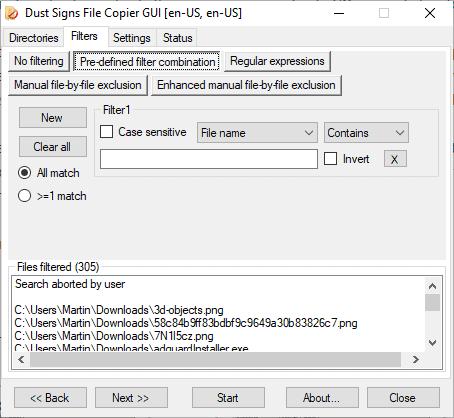 file copier filters