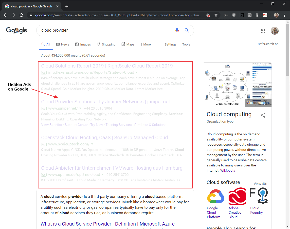 google hide ads