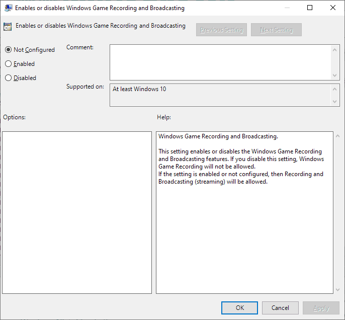 group policy disable game recording