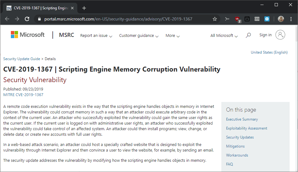 Microsoft Releases a Security Update for Internet Explorer