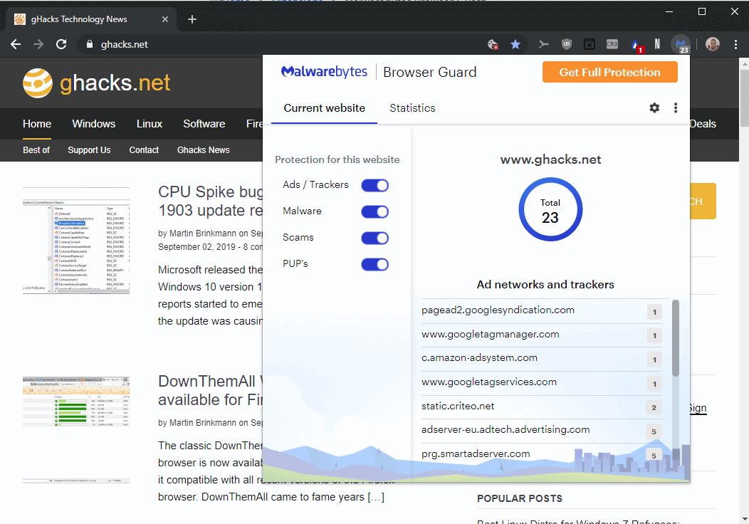 malwarebytes browser control