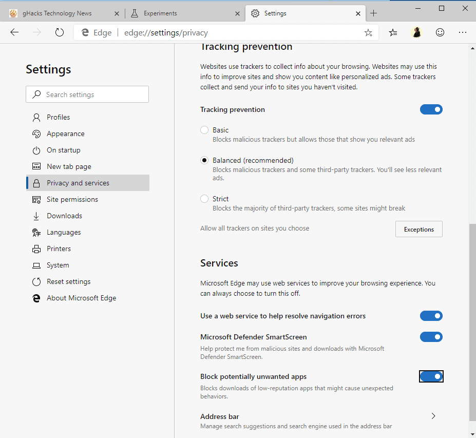 microsoft edge chromium pua protection