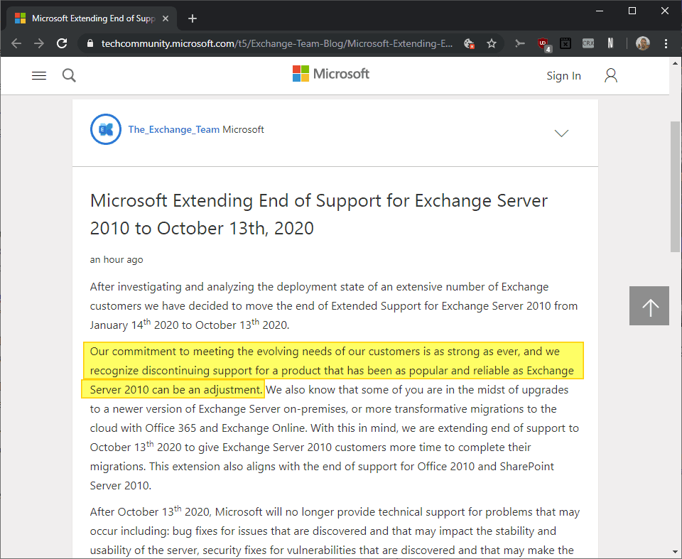 microsoft exchange server 2010 extend support