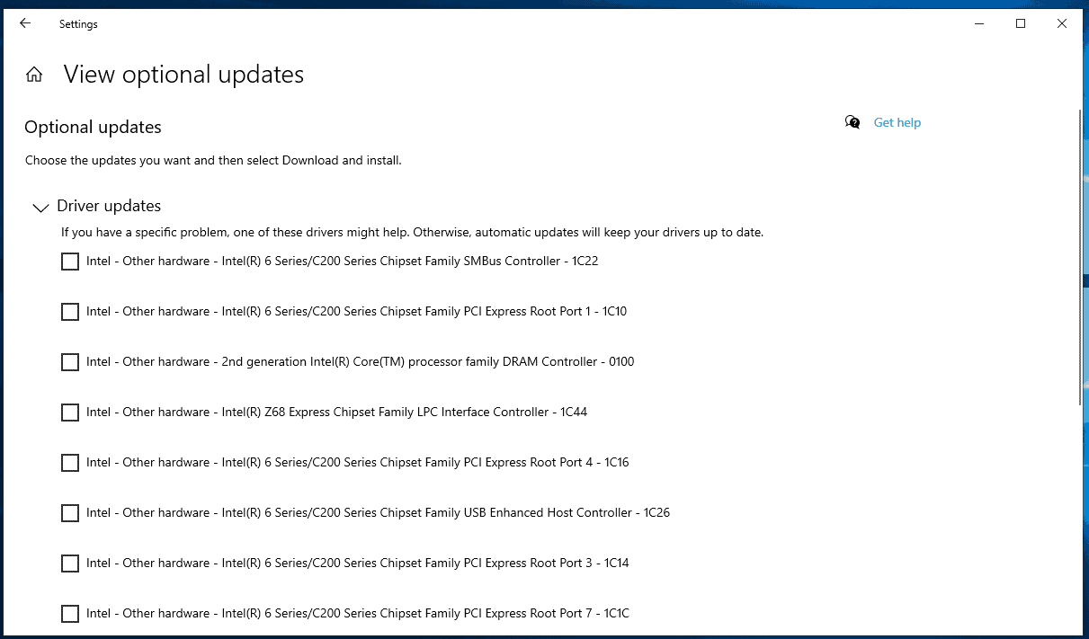 optional driver listing windows 10 20h1