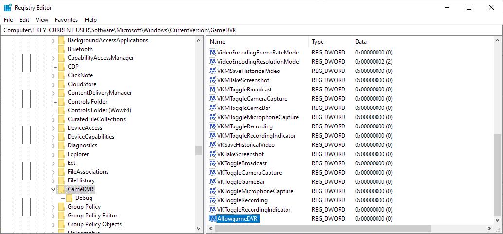 registry disable game bar windows