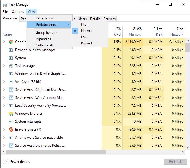 task manager update speed windows