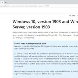 windows 10 1903 ready deployment broad