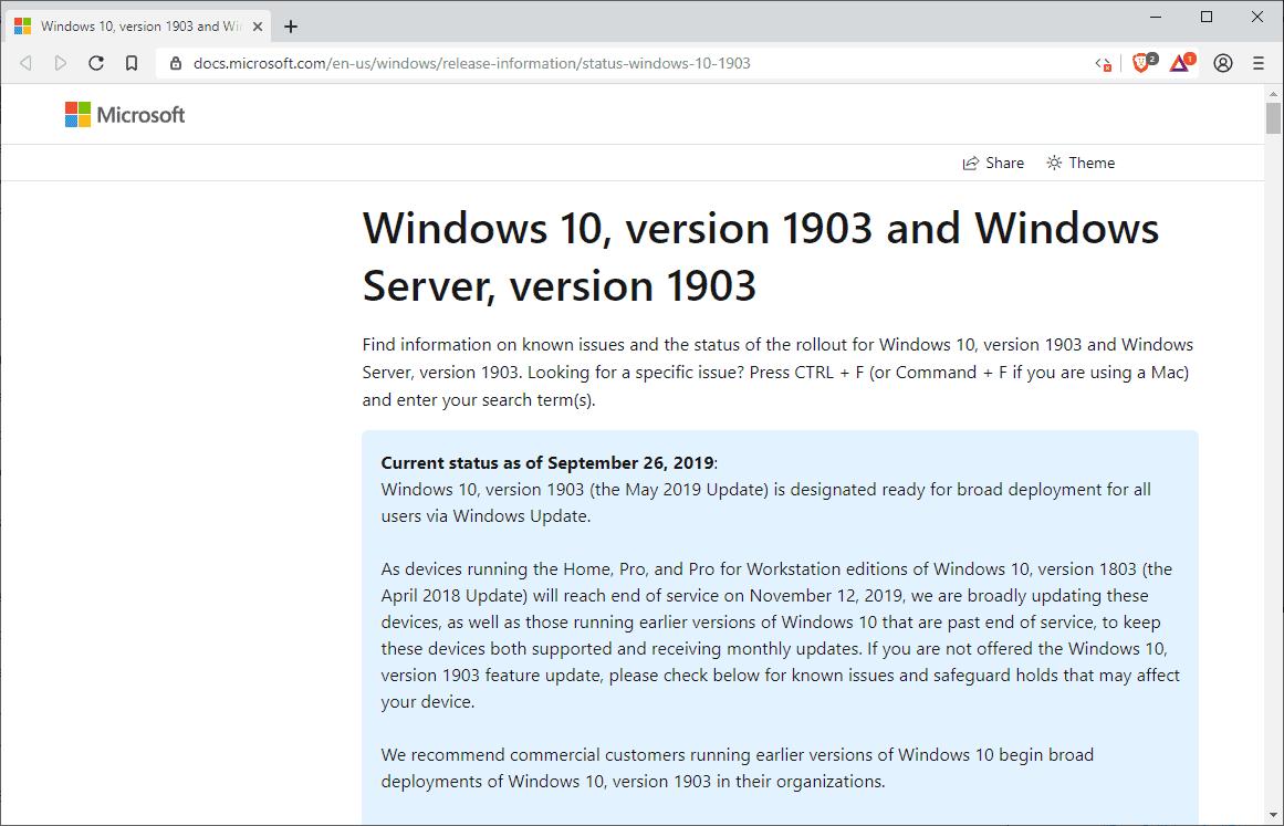 windows 10 1903 ready deployment broad
