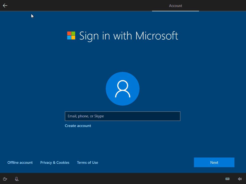 windows 10 setup offline account