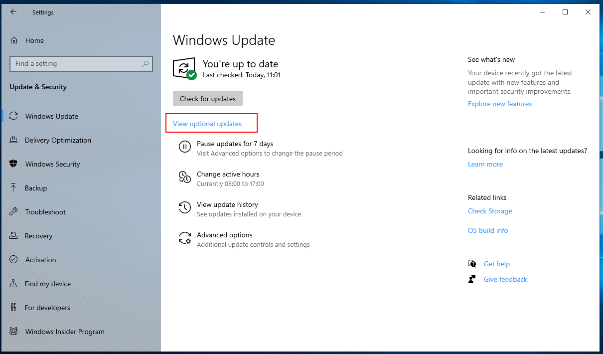 windows 10 view optional updates
