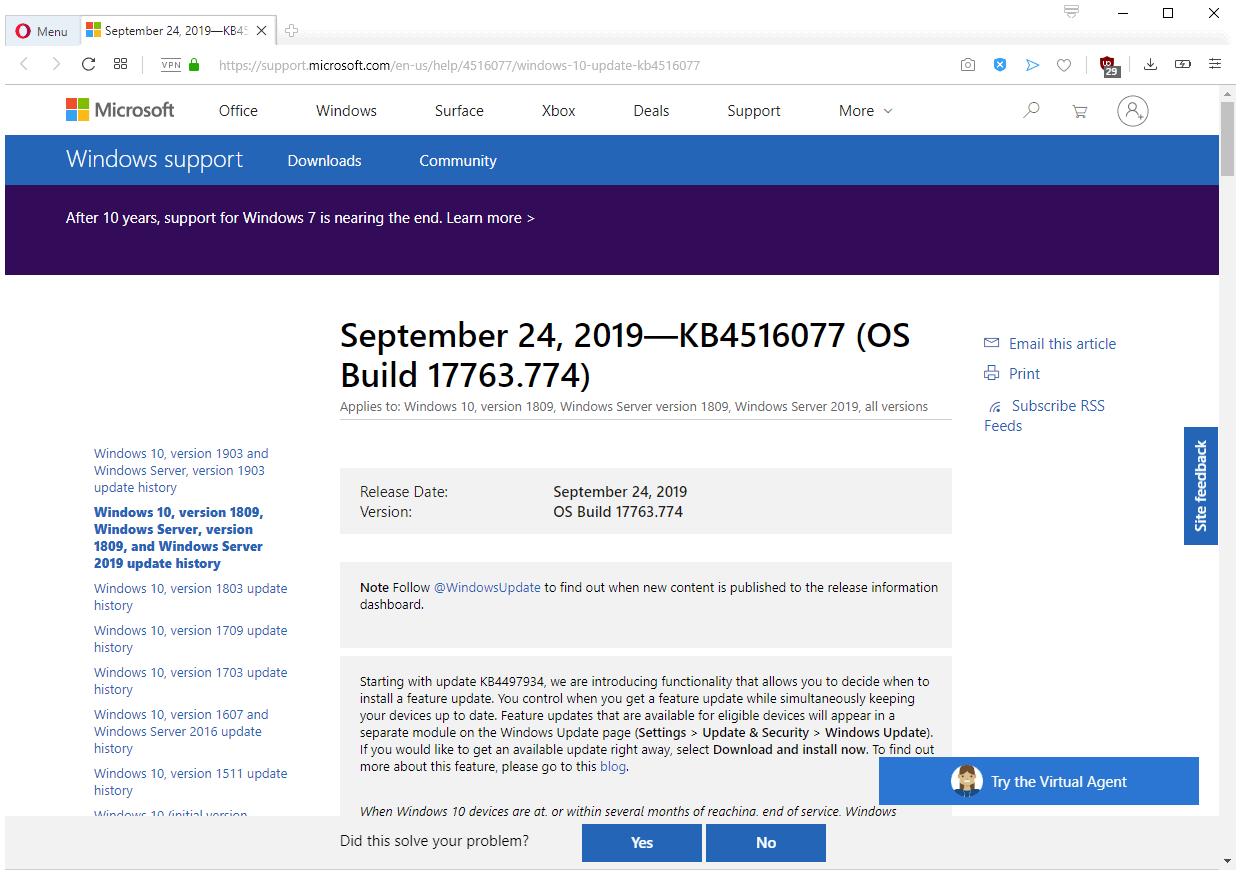 windows10 updates september 2019