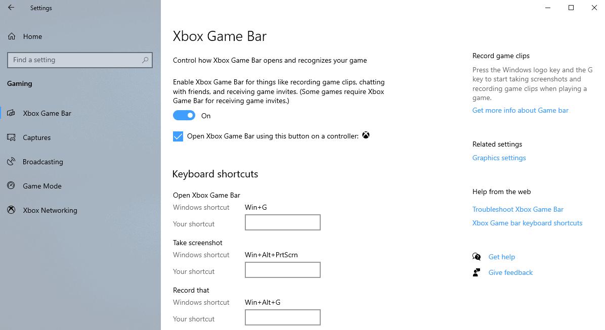 xbox game bar settings