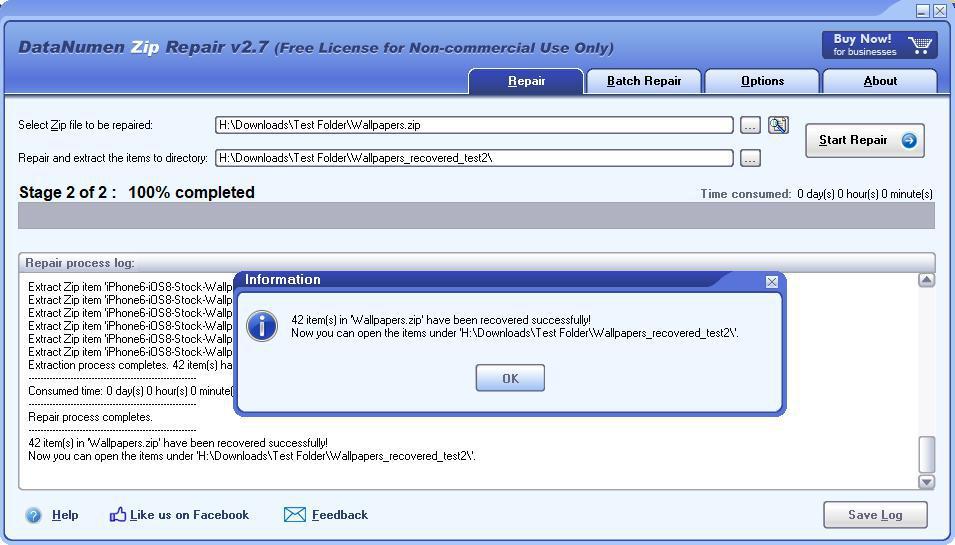 DataNumen Zip Repair process