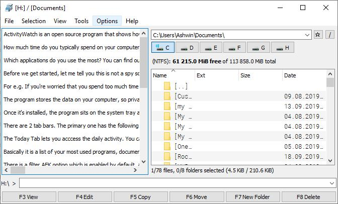 File Commander text viewer