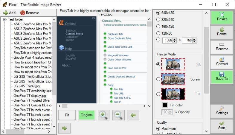 Flexxi is an open source batch image resizer for Windows
