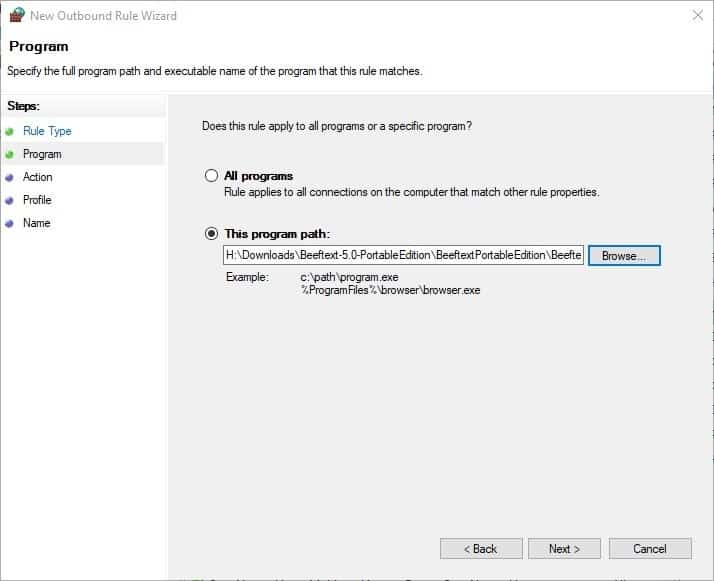 How to block Windows programs from accessing the internet - Firewall step 4