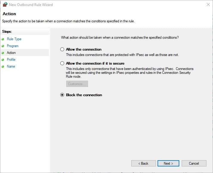 How to block Windows programs from accessing the internet - Firewall step 5