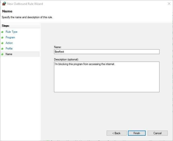 How to block Windows programs from accessing the internet - Firewall step 7