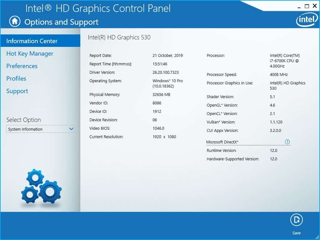 Intel Graphics Drivers for Windows 10 1909 info