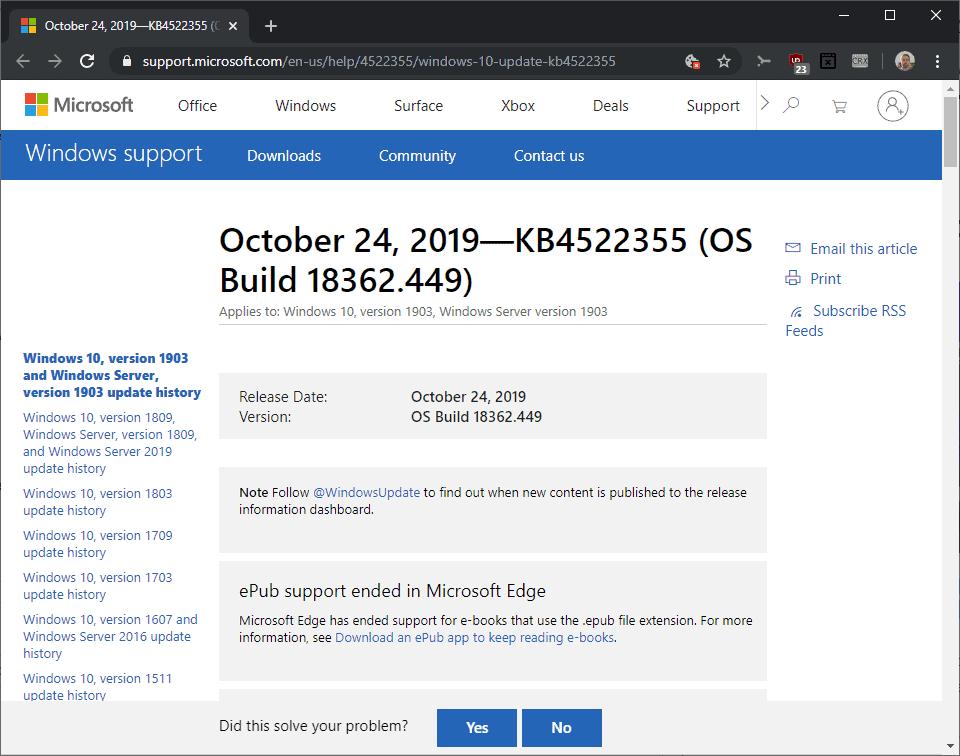KB4522355 windows 10 1903
