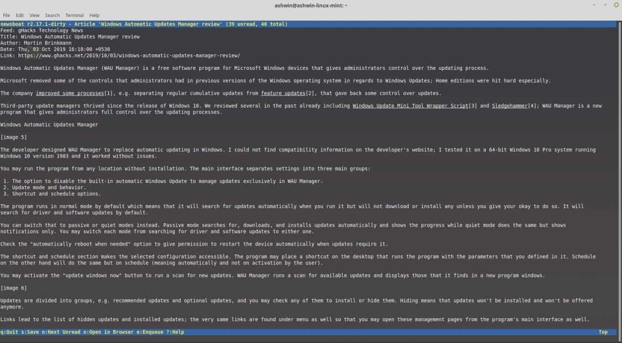 Newsboat is a command line based RSS feed reader for Linux