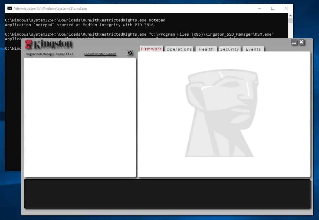 RunWithRestrictedRights kingsoft ssd manager test