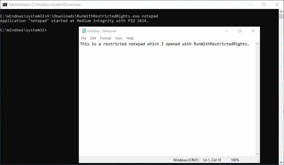 RunWithRestrictedRights notepad test