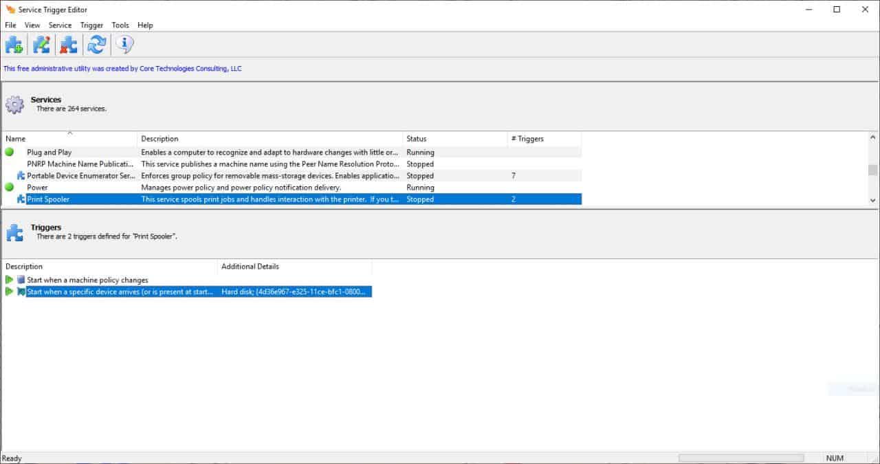 Service Trigger Editor example