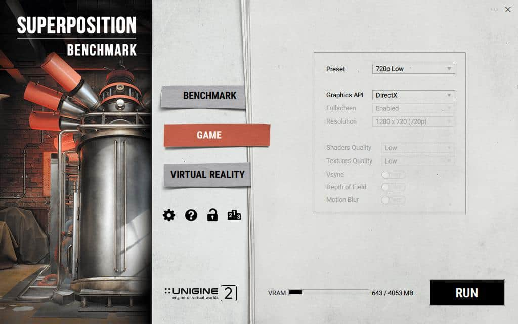 Superposition game benchmark settings