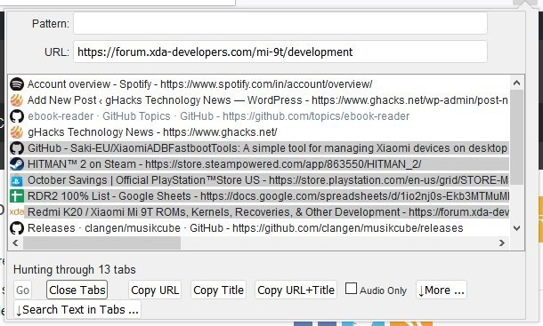Tabhunter extension for Firefox and Chrome multi-select tabs