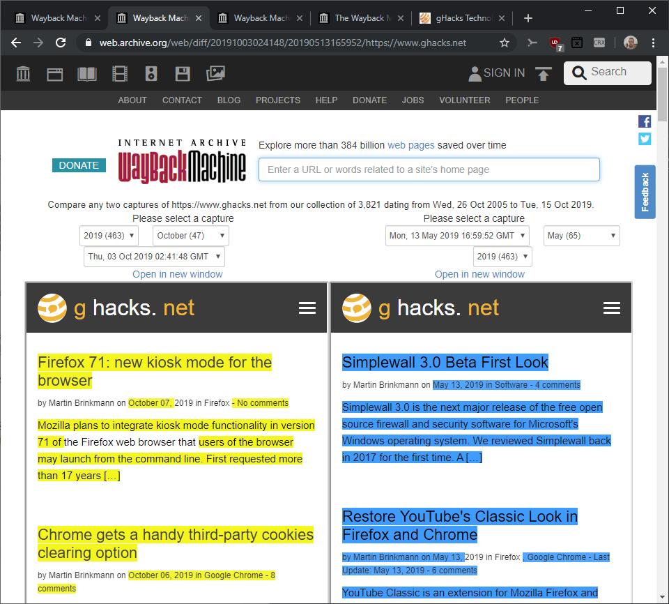 changes website highlight