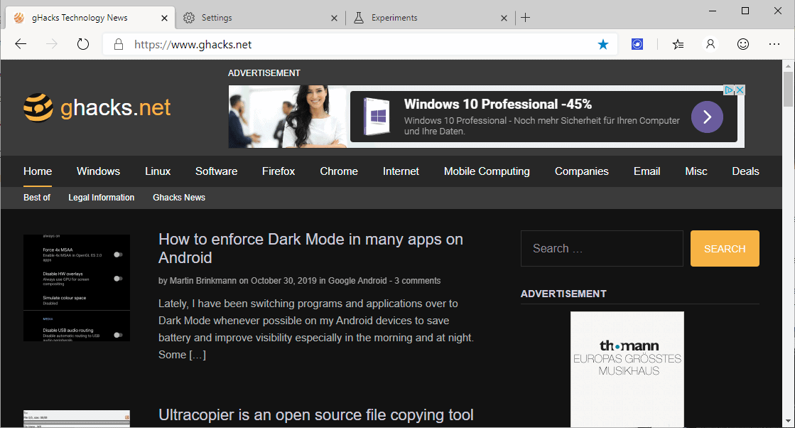 How to enforce dark mode on sites in Microsoft Edge
