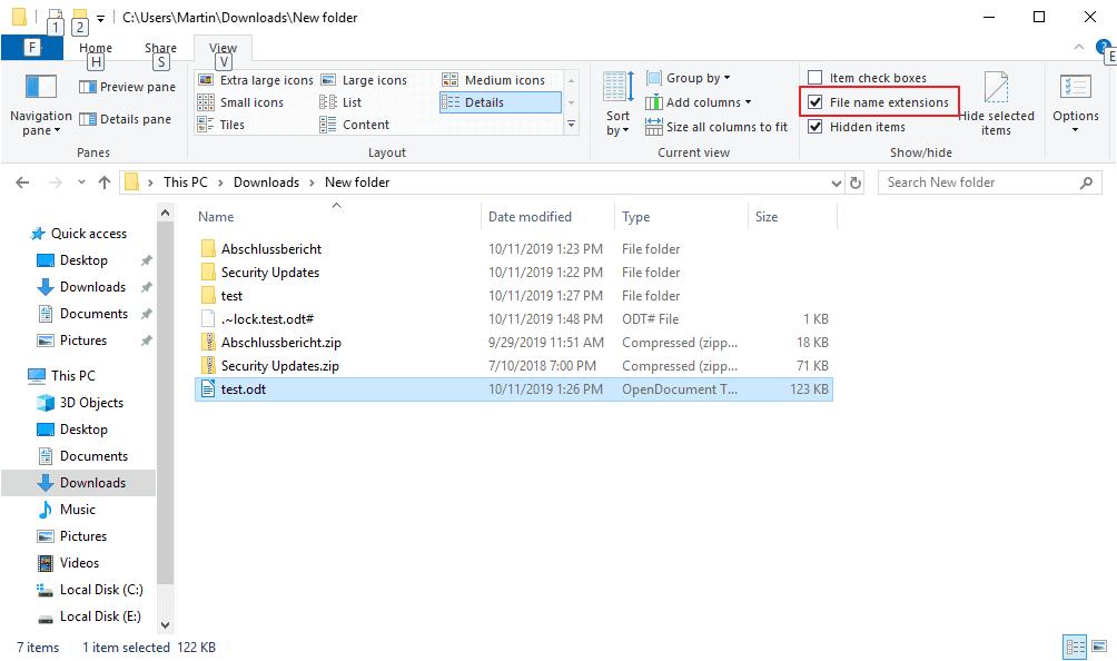 explorer show file extensions
