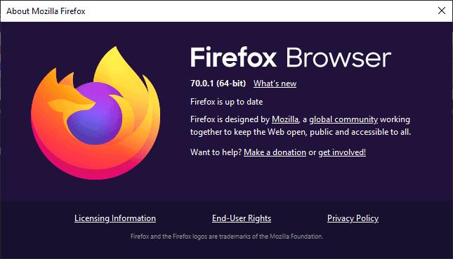 Mozilla Firefox 70.0.1 release information