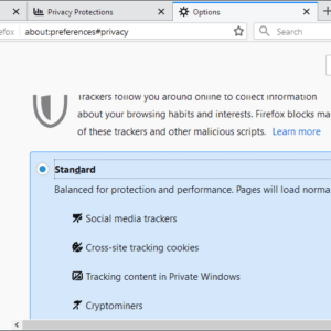 firefox-social media tracker blocking