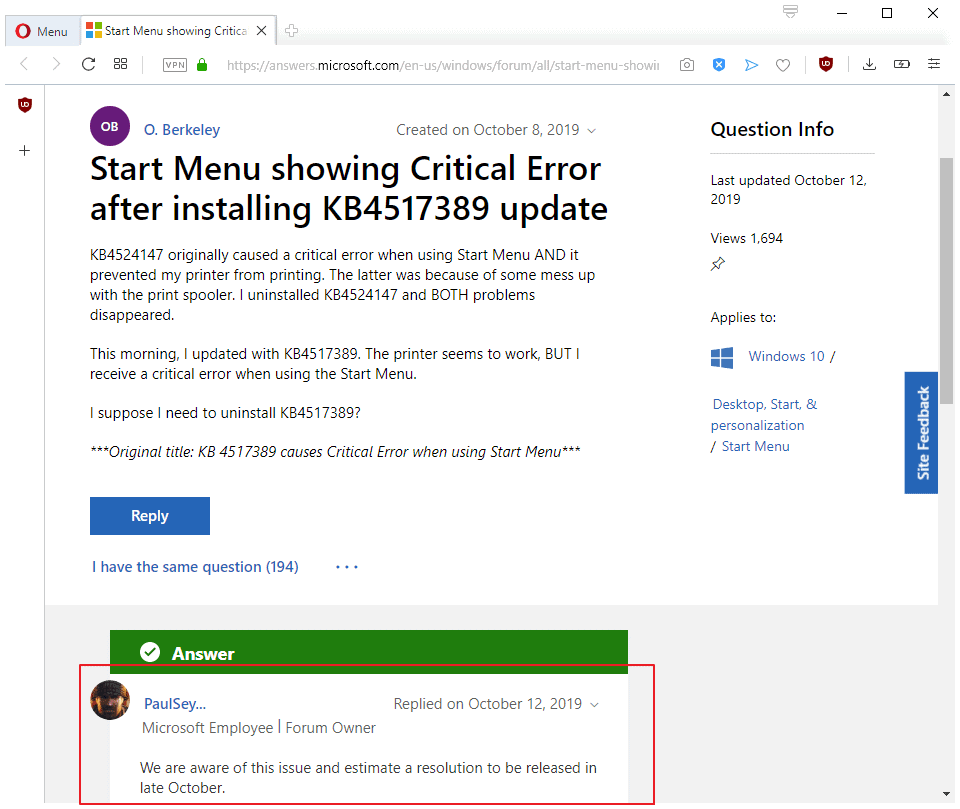 microsoft fix start menu