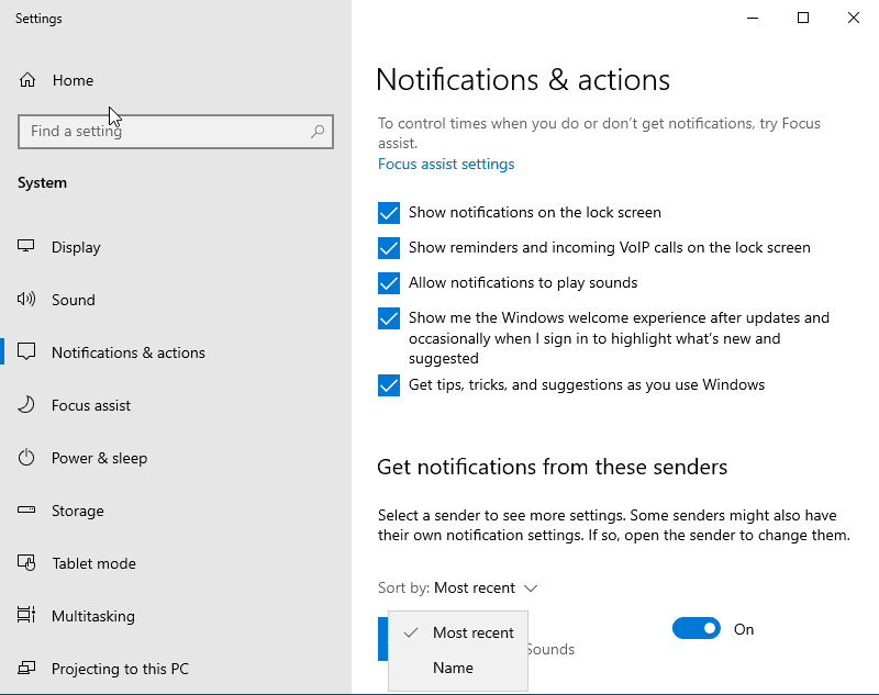 notifications in windows 10 version 1909