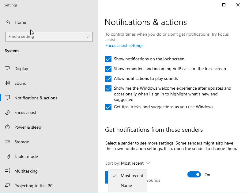 notifications in windows 10 version 1909