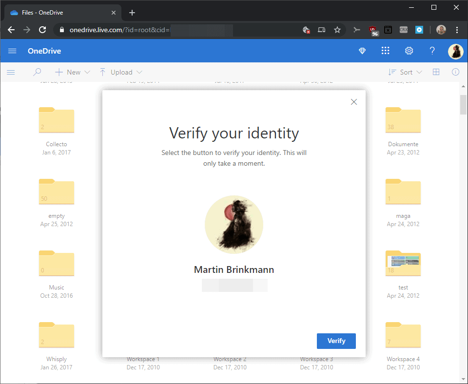onedrive personal vault verify identity