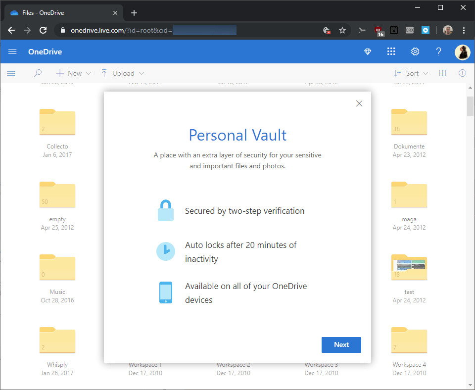 First look at OneDrive's Personal Vault feature