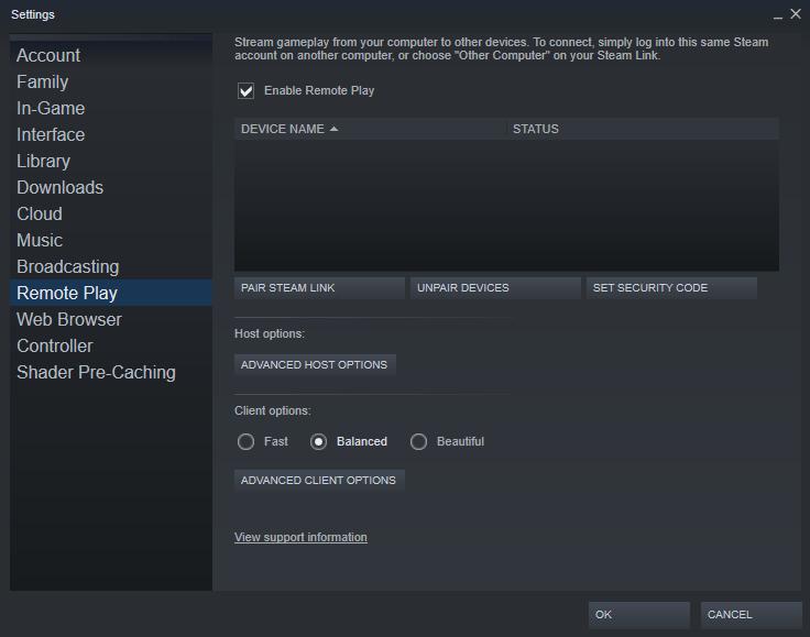 steam remote play settings