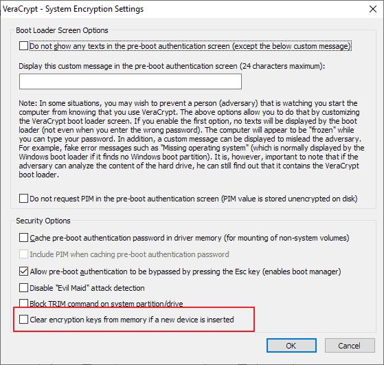 veracrypt 1.24 clear encryption keys