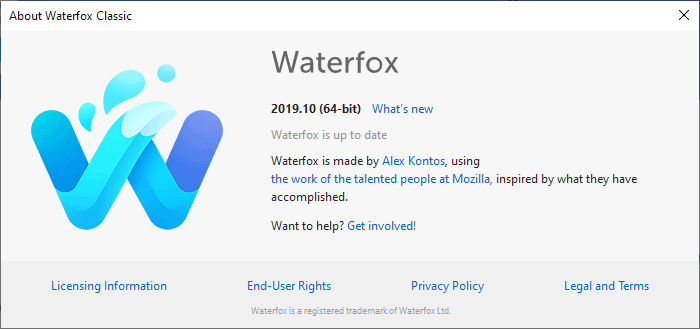 waterfox 2019 10