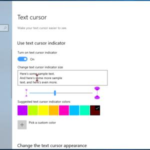windows 10 text cursor indicator