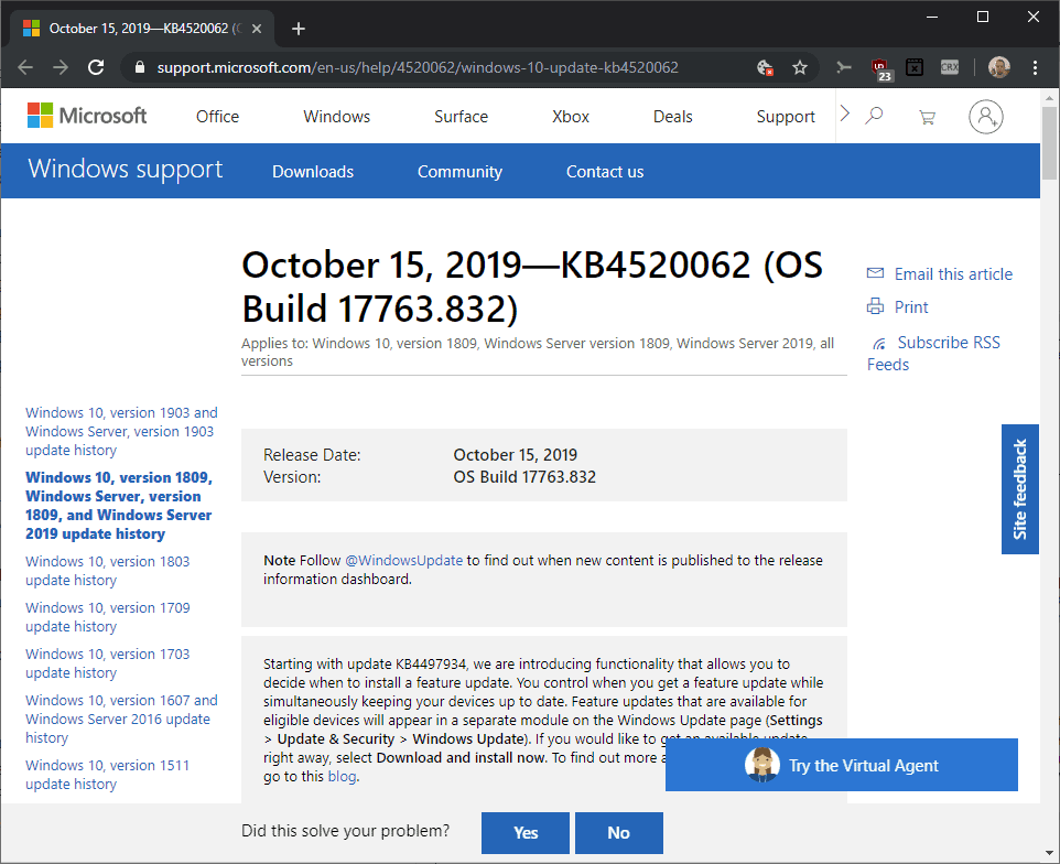 windows october 2019 updates KB4520062