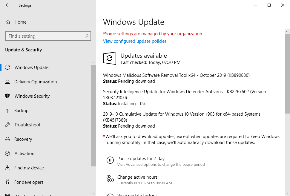 windows security updates october 2019
