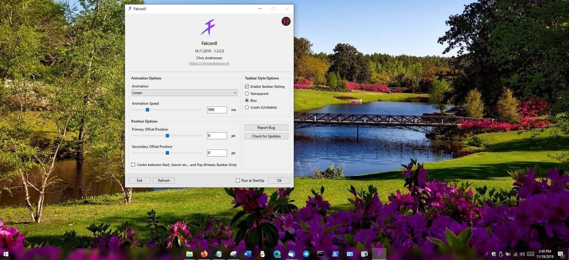 FalconX taskbar blur style